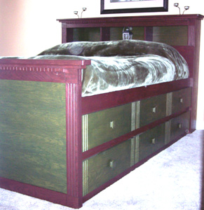 This Queen Size High Bed Not Only Looks Elegant But Also Converts Unused E Into An Under Dresser A Sy Frame And Platform Support Contain The